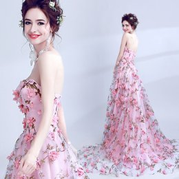 $enCountryForm.capitalKeyWord Canada - Printed 3D Floral Flowers 2017 Evening Dresses Strapless A-line Prom Dresses Fashion Elegant Formal Party Bridesmaid Gowns