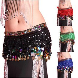 Jupe En Mousseline De Soie Pas Cher-TOP Multi Color Mousseline Belly Dance Hip Scarf Coin Sequin Ceinture Jupe Tassel Hip Wrap Super Girl