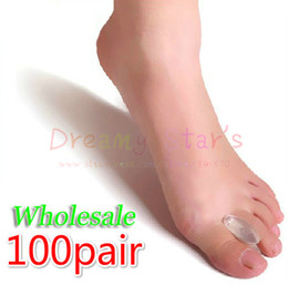 toes spreader 2019 - Wholesale-100 Pair Silicone gel toe spreader separator Relieve bunions overlapped Hallux Valgus Relief Pain and Correcti