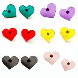 China Lovely summer cool color transparent candy loving heart earrings cheap resin candy earrings suppliers