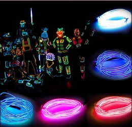 Car Led Glow Lights Canada - 5M LED Neon Tube Flexible Strip Light Pink Yellow Red White Green Blue EL Glow Wire Powered With Controller for Party Cars