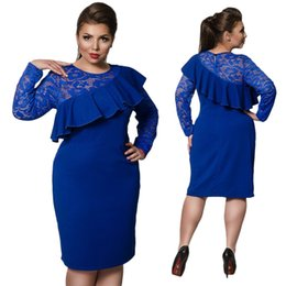 Dress Sexy Size 6xl Canada - Plus Size L-6XL Women's Dresses 2017 new spring fall dress, lace patchwork elegant big Sexy & Club dress Factory outlet wholesale NYC399