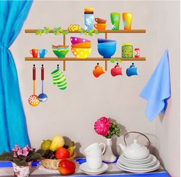 Tiles Design For Kitchen Wall Canada - Cartoon Cute Kitchen Ware Art Mural Decor Kitchen Tile Cabinet Glass Decal Sticker Lovely Tableware Home Graphic Poster Decor