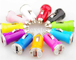 Wholesale Colorful Bullet Mini USB Car Charger Universal Micro Adapter for Cell Phone PDA MP3 player mobile ego battery e cig ecig ecigarette DHL free