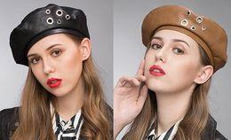 Fallen Hats Australia - Stand Focus Women Faux Leather Studs French Beret Painter Flat Baker Boy Hat Newsboy Cap Ladies Fashion Fall Winter Black Brown Trendy Cool