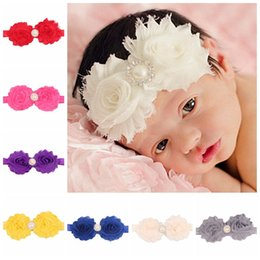 $enCountryForm.capitalKeyWord Canada - Fashion baby hair band pearl alloy diamond buckle chiffon flower flash flower hair band children headband