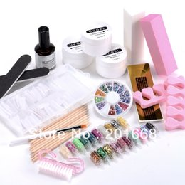 Decoración Del Palillo Anaranjado Baratos-Al por mayor-rosa claro color blanco Gel UV Starter Kit con naranja decoración purpurina palillo de puntas de las uñas falsas para Nail Art Decoración Set NA750