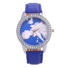 $enCountryForm.capitalKeyWord Australia - New style women leather world map women's watches fashion diamonds plane printing cowboy dress quartz wrist watch luxury for ladies reloj