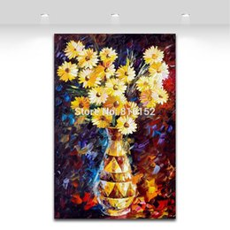 $enCountryForm.capitalKeyWord Canada - Modern Wall Decor Palette Knife Oil Painting Charming Dasiy Bouquet in Vase Printed On Canvas Picture For Office Home Decoration