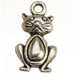 $enCountryForm.capitalKeyWord Canada - DIY Animal Charms For Crafts Handmade Necklaces Pendants Bracelets Vintage Silver Cats Metal Jewelry Accessories Free Ship 20*10mm 200pcs