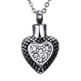 $enCountryForm.capitalKeyWord Australia - Lily Cremation Jewelry Urn Retro diamond heart shaped Memorial Pendant Ashes Necklace Keepsake & Chain Necklace with a Gift Bag