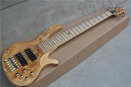 Hot Sale 6-String Electric Bass Guitar with Maple Fretboard and Burl Lines Veneer,Can be Changed