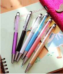 $enCountryForm.capitalKeyWord Canada - Hot Crystal Diamond Screen Capacitive Touch Stylus Pen for Universal Capacitive Pad Tablet+Ball Point Write Pen DHL fast ship