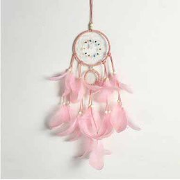sweet cloth NZ - Wholesale Pink Fur Dreamcatcher Romantic Lover's Valentine's Day Gift Solid Color Dreamcatcher With Beads Sweet Crafts Home Decorations
