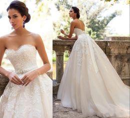 $enCountryForm.capitalKeyWord NZ - 2019 Millanova A-Line Wedding Dresses Bridal Gowns Plus Size Sweetheart Sleeveless Lace Applique Beaded Sash Maternity Lace Up Back