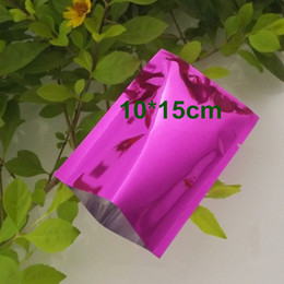Discount vacuum sealed coffee bags - 10x15cm Purple Aluminum Foil Mylar Bag Vacuum Bag Sealer Food Storage Package Open Top Heat Seal Packing Pouch For Coffe