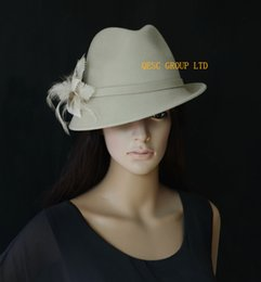 Sun Feather NZ - LT camel Wool felt hat winter hat with feather flower,one side up brim.