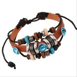 Discount infinity beads - Newly Fashion Charms Bracelets Handmade Infinity For Men Blue Plastic Crystal Wood Bead Leather Bracelets Jewelry