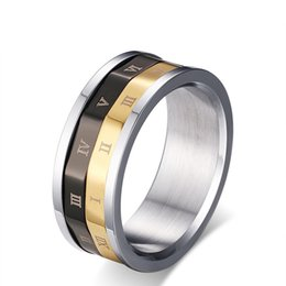 $enCountryForm.capitalKeyWord Canada - EURO-US Popular Rotating Ring Roman Letter Mens Ring Titanium Steel Lucky Jewelry For Men US Size 6 7 8 9