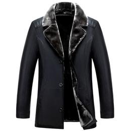 Оптовая продажа-русские зимние черные кожаные куртки высокого качества толстые теплые мужские кожаные куртки и пальто мода повседневная мужская одежда jaquet на Распродаже