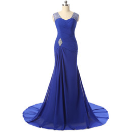 $enCountryForm.capitalKeyWord Canada - New Royal Blue Mermaid Long Evening Dresses For Women Crystal Beaded Court Train Prom Gowns Formal Dinner Party Dress Vestido Festa Longo