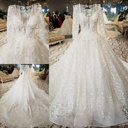 LS56411 luxury wedding dresses o-neck lace up backless three quarters  sleeve ball gown wedding dresses from china real photo e3fc5f7d19af