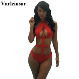 Wholesale- Varleinsar Sexy black red halter neck sexy 1 one piece swimsuit caged monokini female swimwear women bathing suit swim wear V83