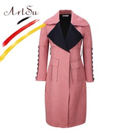 Barato Casacos De Couro Coreia-ArtSu Korea Elegant Women Long Coat 2017 Inverno Faux Leather Suede Trench Coat Slim Pockets Button Feminino Windbreaker ASCO20113