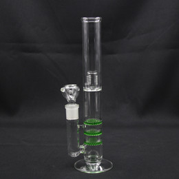 honeycomb bong 18.8 NZ - Honeycomb GLASS BONGS Water Pipes 30.5cm Height with triple-decker Honeycome in Green,Blue For filtration 18.8 Joint oil rigs Bo001