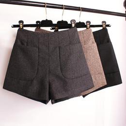 Red Wool Shorts Canada - Winter Shorts 2017 Korean High Waist Shorts Women Wool Boots Fashion Shorts Black Grey Khaki Big Pocket Plus Size S M L XL