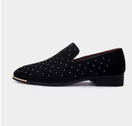 Chinese  Men gold spike plus size black navy suede leather penny loafers moccasins slip ons boat shoes smoking wedding dress shoes D2n10 manufacturers