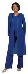 $enCountryForm.capitalKeyWord UK - Fashion Blue Chiffon Edged Mother Of The Bridal Dresses with Long Sleeves Women Formal Evening Dress Wedding Party vestidos for Lady