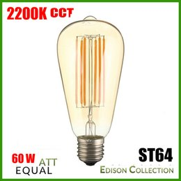 Discount chip warmer globe - New Arrival Dimmable E27 ST64 4W 6W Golden Clear Edison Style Vintage Retro COB LED Filament Light Bulb Lamp Long Chips