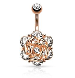 Роза цветок Алмаз пирсинг пупка ювелирные изделия пупка ногтей пупка