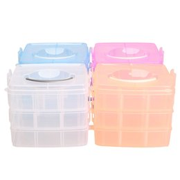 Makeup Art Storage Box Canada - Wholesale- Portable 3 Layer Nail Tool Plastic Makeup Organizer Jewelry Storage Box Case for Nail Art Container Jewelry Storage Random Color