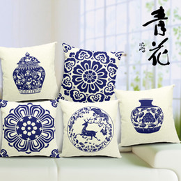 $enCountryForm.capitalKeyWord Canada - Blue and White Porcelain Sofa Cushion Covers Chinese CultureThrow Pillow Cases Office Car Linen Cotton Pillows Cover 45*45cm