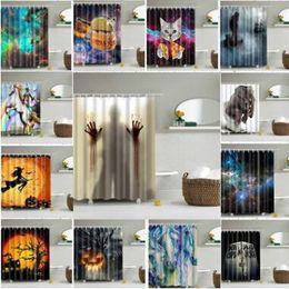 12 Styles 165*180cm Shower Curtains Halloween Pumpkin Mermaid Elephant  Waterproof Bathroom Shower Curtain Decoration With Hook CCA8043 10pcs  Halloween ...
