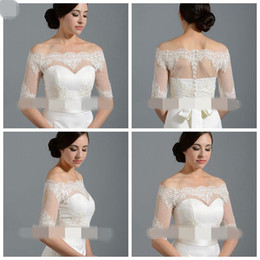 $enCountryForm.capitalKeyWord Canada - Off Shoulder Cheap Bridal Wraps Wedding Jackets Half Sleeve Tulle Bridal Jacket With Lace Applique Bolero Jacket Plus Size