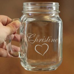 heart jars 2019 - Wholesale- Fashion Beverage Container Custom Name with Heart Wedding and Significant Event Supplies Personalized Mason G