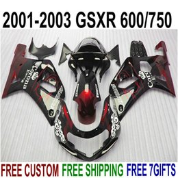 kit gsxr k1 NZ - Fairing kit for SUZUKI GSX-R600 GSX-R750 01 02 03 fairings K1 GSXR 600 750 2001-2003 red black Corona plastic motobike set SK3
