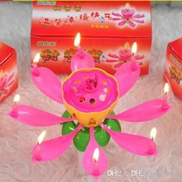 music birthday candles UK - Birthday Bougie Beautiful Blossom Lotus Flower Candle Arts And Crafts Gift For Festival Party Decorate 0 85ch C
