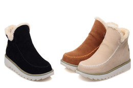 $enCountryForm.capitalKeyWord Canada - Warm snow short boots made of leather suede cashmere sweaters Warm ankle boots casual flat shoes.XDX-066