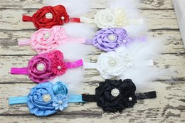 baptism hair accessories 2019 - 50PCS New Baby Rose Flower and Feather Headband for Girl Hair Accessories Baptism Baby Hair band Newborn princess Photo