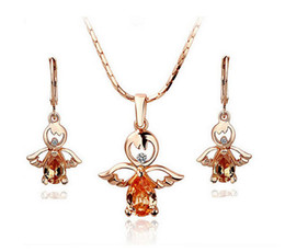 $enCountryForm.capitalKeyWord Canada - 18KGP Austria Crystal Angle Necklace Earrings Jewelry Sets Fashion Zicron Jewelry For Women Cheap Jewelry Sets G236-100