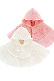 Girls Cotton Poncho Wholesale UK - Lace Princess Shawl Baby Girls Flower Ruffle Hooded Poncho Cute Infant Outwear Winter Plus Thick Toddler Cape C2500