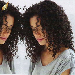 Half lace wig brazilian Hair online shopping - Hair Wigs For Black Women Bouncy Curly Full Lace Wigs Deyable Natural Color Front Lace Wigs with Natural Hairline Bella Hair