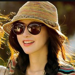 Straw Trilbies Wholesale Canada - Wholesale-1pc lot 2015 Hot Trendy Colorful Summer Beach Straw Sun Hat Casual Breathable Fedora Travel Bohemia Trilby Hat 671706