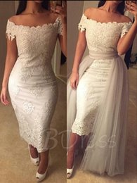 $enCountryForm.capitalKeyWord Canada - Elegant Tea Length Sheath Dresses Evening Wear 2018 Off Shoulder Appliques Modest Prom Party Special Occasion Gowns Cheap Custom Made