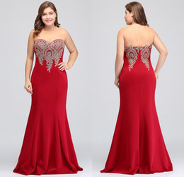 Wholesale 2018 New Cheap Burgundy Plus Size Occasion Dresses Mermaid Sheer Neck Lace Appliqued Satin Formal Evening Prom Gowns CPS262