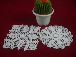 $enCountryForm.capitalKeyWord NZ - wholesale handmade Crocheted Doilies lace cup mat vase Pad, 100% cotton coaster 2 Design 15-16 cm table mat customization 20PCS LOT tmh215